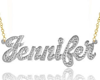 Two Tone Personalized Name Necklace With Diamond Pattern (Order Any Name) - Gold, Rhodium and Sterling Silver