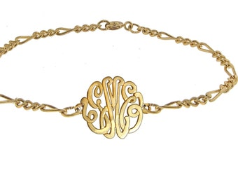 Designer Personalized Initial Bracelet (Order Any Initials) - Sterling Silver and 24K Yellow Gold