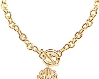 Personalized Monogram Initials Necklace -(Order Any Name) - 24K Gold Overlay