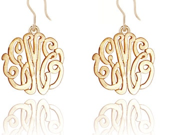 10K Solid Gold - Personalized Handmade Monogram Earrings (Order Any Initials)