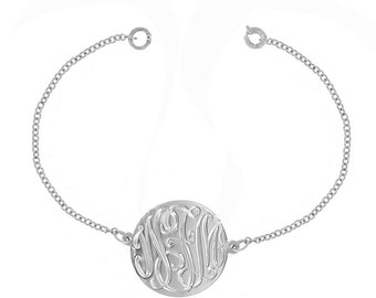 14K White Gold Designer Personalized Initial Bracelet (Order Any Initials)