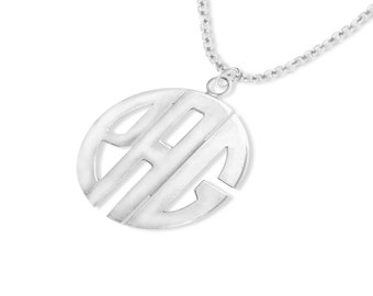 "Designer Initials pendant 1""(Order Any Initials) - Sterling Silver"