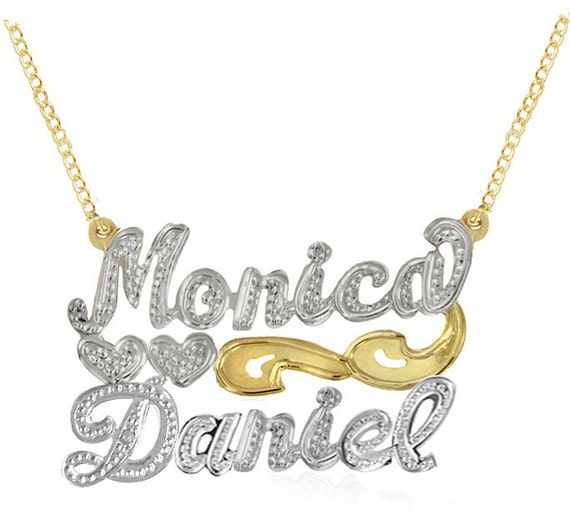 Personalized Couples Name Necklace (Order Any Names) - Two Tone Yellow Gold