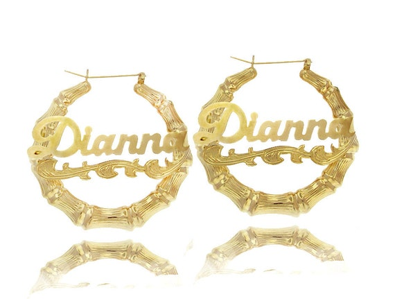 bamboo nameplate earrings personalized bamboo name earrings door knockers nameplate 2024