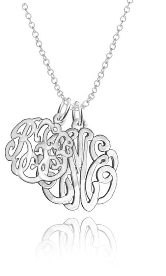 """Personalized Couples Monogram Initials 1""""(Order Any Initials) - Sterling Silver"""