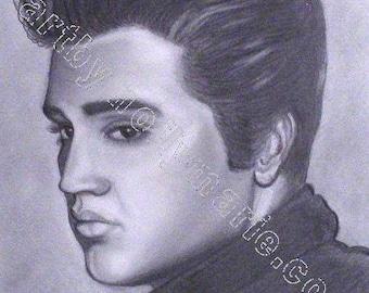 Elvis Pencil Portrait, 8x10, Print of my Original Drawing
