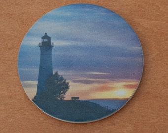 Sandstone Coaster, Crisp Point Lighthouse Sunset Design