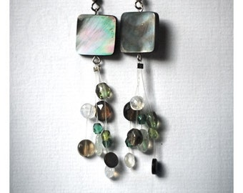 natural shell semi precious stone bead and glass dangle earrings