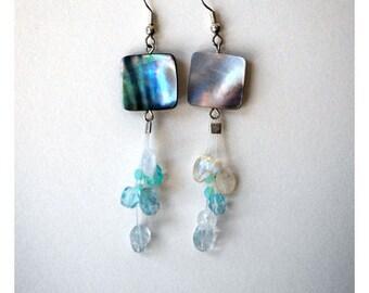blue beaded dangly earrings,cluster earrings , aquamarine earrings,long dangly earrings, everyday jewelry, gift for girl friend