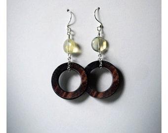 Citrine and Wood hopp Earrings - brown earrings, dangle earrings, hoop earrings,gift for her
