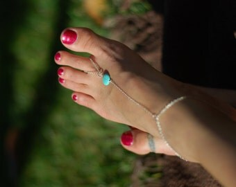 Sterling silver and turquoise Barefoot Sandals,Turquoise jewelry,Beach Wedding,body jewelry,silver anklet,foot jewelry,destination wedding