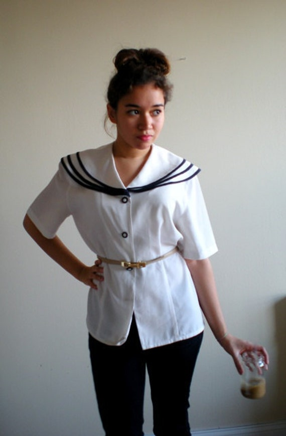 White and Navy Layered Collar Sailor Top