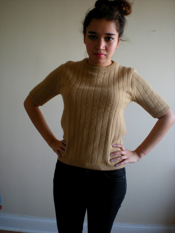 Tan Short Sleeved Sweater Knit Top