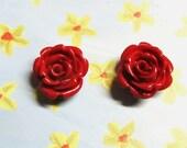 Scarlet red rose resin earrings