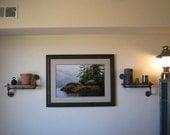 An Original Pair of Single Walnut Mirrored Pipe Shelf Pipe Shelves