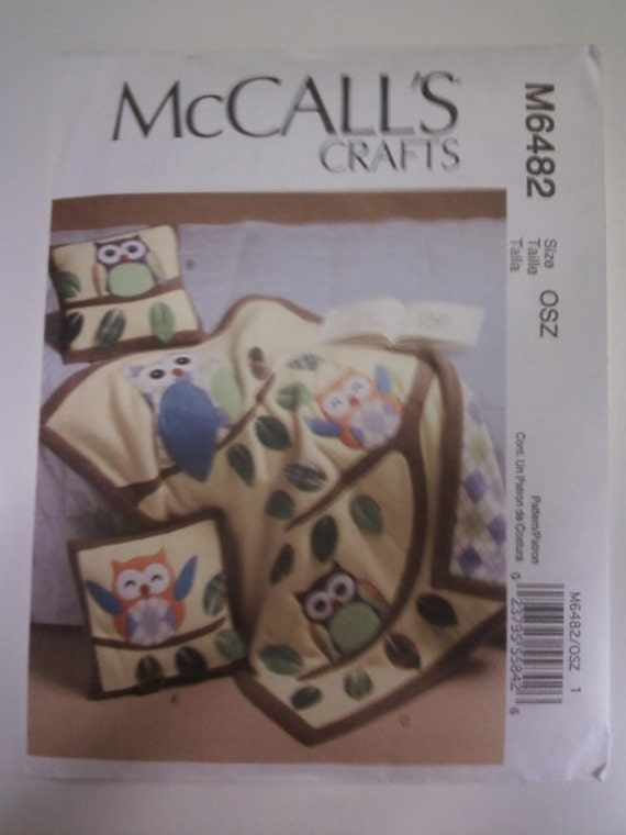 McCall's Crafts M6482 Owl Pillows and Quilt