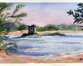 "Scotland castle - Original watercolor blank notecard, 3""x5"""