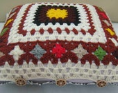 Crochet pillow case with poly inside / crochet cushion cover / granny square pillow