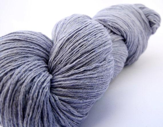 Silk & cashmere 3-ply yarn, lavender blue, reclaimed, 60g