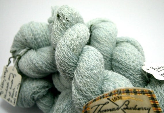 Laceweight merino yarn, ice blue, reclaimed and ethical, Burberry, 43g