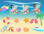 Summer Beach Girl Clip Art Set