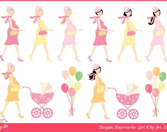 Elegant Mom-to-be Girl Clip Art Set