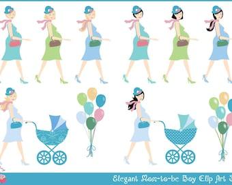 Elegant Mom-to-be Boy Clip Art Set