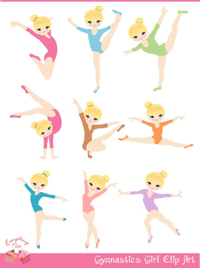 Blonde Gymnastics / Gymnast Girl Clip Art by 1EverythingNice
