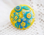 Felt brooch in yellow blue turquoise Floral brooch Embroidered pin broach Gift for her