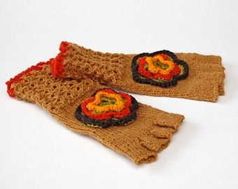 SALE Brown fingerless gloves Spring Gloves Girls knitted fingerless gloves with a flower Wool gloves