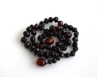 Baltic Amber Baby Teething Necklace. Cherry color