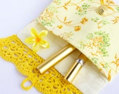 Crochet bag Cosmetic bag Yellow bag Makeup clutch Crochet pouch Lace Flower Vintage fabric