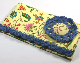 Fabric Checkbook Cover Flower yellow blue lace French country wallet