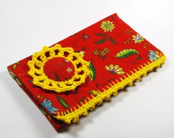 Checkbook cover Red Yellow French fabric Provence rustic country Yellow red christmas