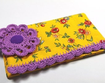 Yellow Purple checkbook cover French fabric wallet lace checkbook flower pattern