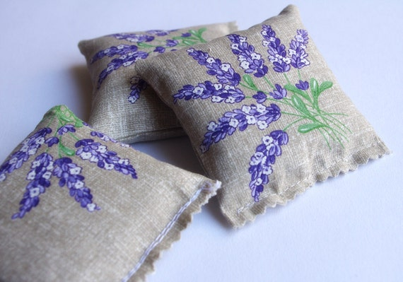 French lavender sachets, 3 sachets, lavande Provence, provencal french fabric country chic farmhouse