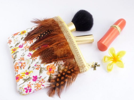 Autumn bag Feather Small zipper pouch Floral Orange wedding