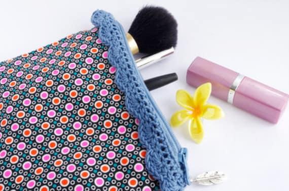 zipper pouch Geometric Blue Lace, Blue crochet lace, Neon carry all bag Blue christmas