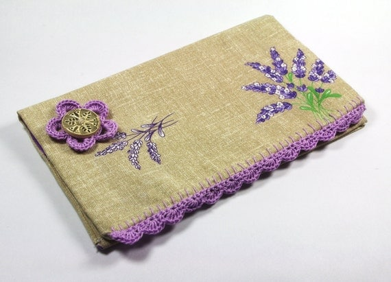 French Lavender Checkbook cover Country Purple lace wallet