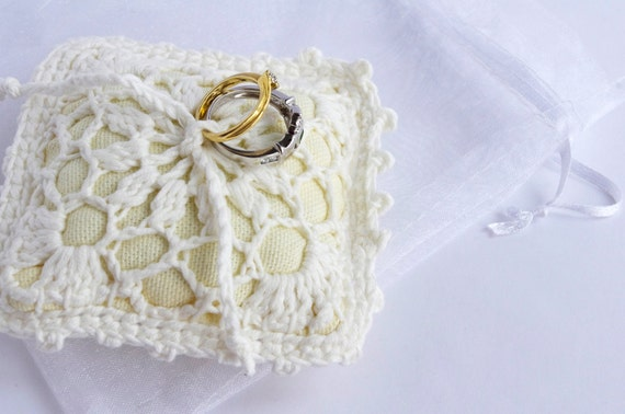 Crochet Ring Bearer Wedding Pillow White Rustic Lace