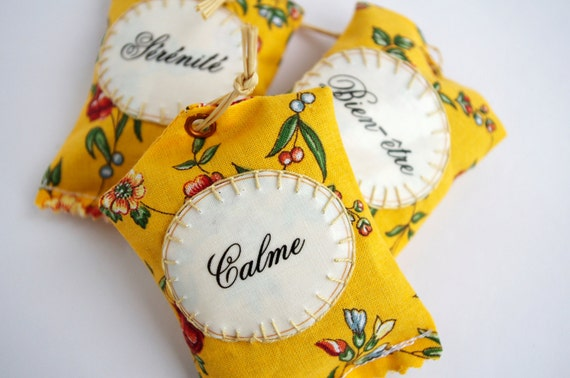 French lavender sachet, French word, French fabric