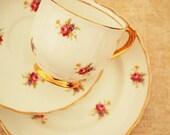 Gorgeous Vintage Tea Cup, Saucer, Plate Trio, 22 Kt Gold Trim - tea party, wedding, china, shabby, floral, chintz