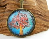 Whimsical and Colourful Curly Tree, Antique Bronze, Nature, Glass Pendant......Vintage Style Necklace