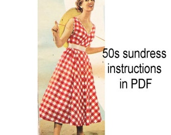 1950s vintage sundress instructions PDF downloaded format - sew a swing dress