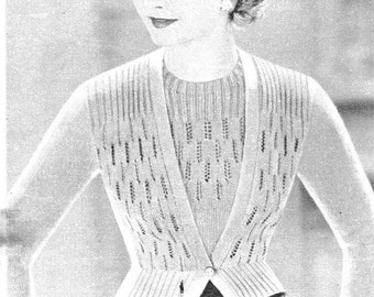 1940s twinset Paris designed vintage knitting pattern PDF downloaded format sweater and cardigan pattern