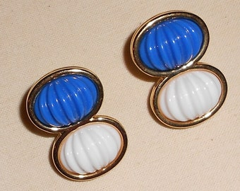 Vintage Monet earrings clip ons blue and white thermoset 1960s Earrings vintage gold tone metal mid century jewelry