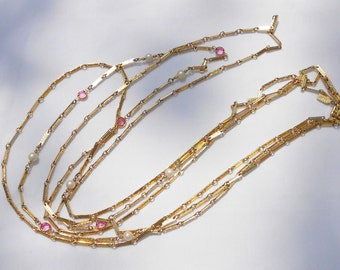 vintage preppy necklace by 1928 three strands gold links with glass rubies and cultured pearls Free USA Shipping