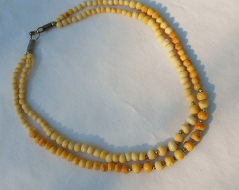 Bone necklace 1950s vintage bone ivory mid century jewelry 2 strand necklace Free USA Shipping