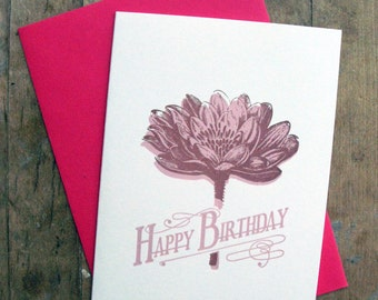Happy Lotus Birthday - Letterpressed card