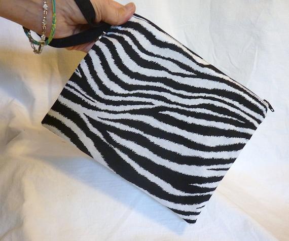 Wristlet , Cosmetic Bag or Small Clutch --zipper closure  Zebra Print